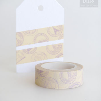 WASHI TAPE,  violet stamps, Paris, Moscow, Rome, London, Australia,  travel on beige background