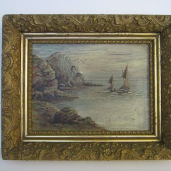 Sailing At Ocean Oil On Board Gilt Wood Heavily Ornate Frame