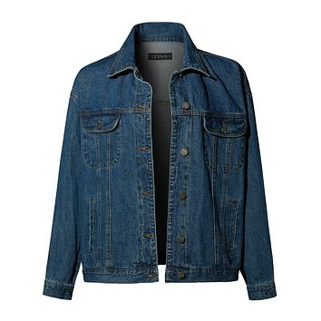 LE3NO Womens Casual Oversized Long Sleeve Distressed Frayed Denim Jacket with Pockets