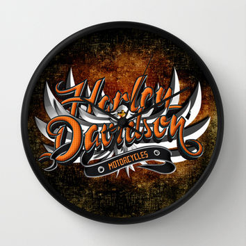 Harley motorcycle with Eagle Typograph Decorative Circle Wall Clock Watch by Three Second