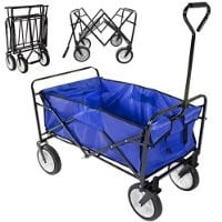 World Pride Collapsible Folding Utility Wagon Garden Cart Sports Shopping Beach (Blue)