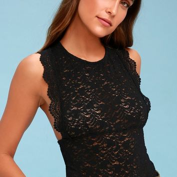 Sure Thang Black Lace Tank Top