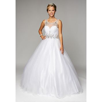 Juliet 647 White Quinceanera Dress Embellished Bodice Cut Out Back