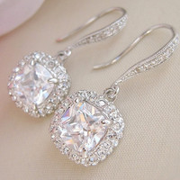 Square Bridal Earrings Wedding Earrings by CherryHillsBridal