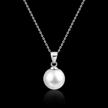 Alloy Long Pearl Pendant Necklace