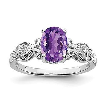 Sterling Silver Oval Amethyst And White CZ Ring