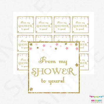 From my shower to yours, Gift Tags, Pink and Gold Baby Shower, Favor Tags, Twinkle Twinkle Little Star Baby Shower, Favor Cards, STPG