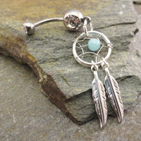 Amazonite Dream Catcher Belly Button Ring Silver by MidnightsMojo