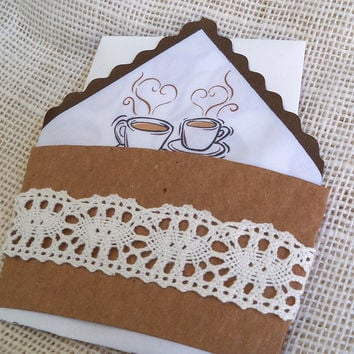 Whimsical wedding invitations with handkerchief printed with coffee beans and coffee cup sleeve with rustic lace for the coffee aficionados