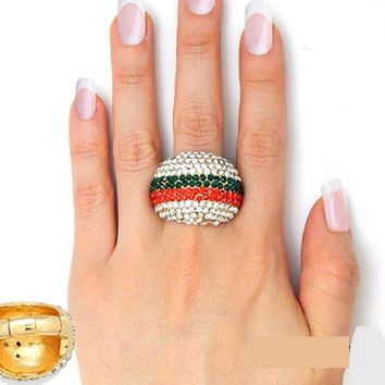 """1.85"""" x 1.25"""" gold crystal pave dome stretch cocktail ring"""