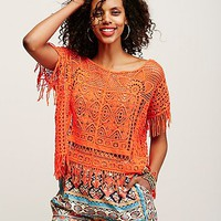 Free People Georgia Crochet Poncho