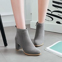 Velvet Zip Chunky High Heeled Short Boots 4684