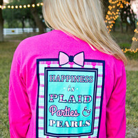 Jadelynn Brooke Plaid, Parties & Pearls Tee - Pink