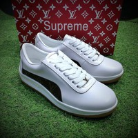 Best Online Sale LV x Supreme x McQueen Fashion White / Brown Sneaker Casual Shoes - 9052
