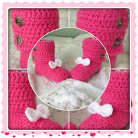 Bowtie Baby Booties Bow Tie Infant Shoes (shown in Bubblegum Pink with White Bowties) button closure MORE COLORS