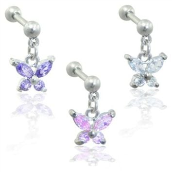 Stainless steel cartilage straight barbell with dangling jeweled butterfly, 16 ga