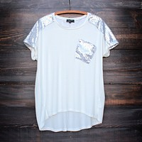 Final Sale - Vintage Inspired Silver Sequin Oversized Top in White