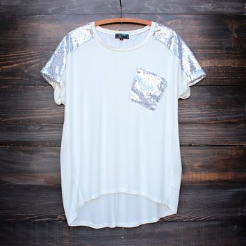 white vintage inspired silver sequin oversized top