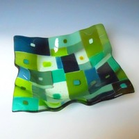 9 Inch Square Fused Glass Bowl - Green and Blue Patchwork | ResetarGlassArt - Glass on ArtFire
