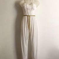 Vintage 1970s 'Nicole Creations' white jersey Grecian style jumpsuit with ruched bodice and gold cord belt / Size 8
