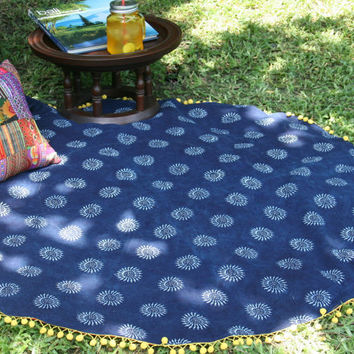 Round Natural Indigo Batik Boho Throw Blanket, Picnic Blanket, Sofa Throw  Bohemian Decor Free Worldwide Shipping