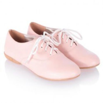 Preppy Style Lace-Up and Pure Color Design Women's Flat Shoes