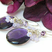 Purple Amethyst Dangle Earrings Handcrafted Silver Short Gemstone Swarovski Crystal