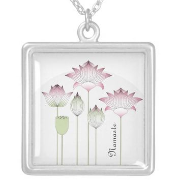 Elegant Chic Pink Lotus Floral Square Pendant Necklace