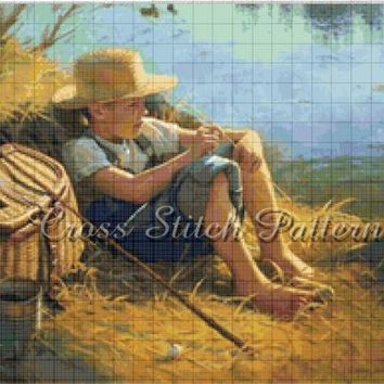Cross Stitch Pattern Design Fishing Landscape