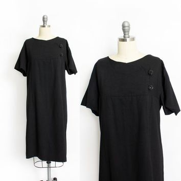 Vintage 1960s Dress - Black Wool PLUS Sz Shift Party Cocktail Dress 60s - Extra Large