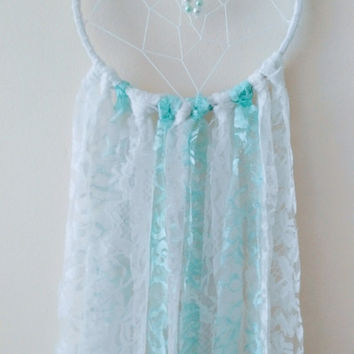 Teal & White Lace Nursery Dreamcatcher, Boho Dreamcatcher, Crib Dreamcatcher, Baby Shower Gift