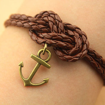 personality sailor knot bracelet--anchor bracelet,antique bronze charm bracelet,brown round leather bracelet,friendship gift