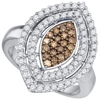 Cognac Diamond Fashion Ring in 10k White Gold 1 ctw