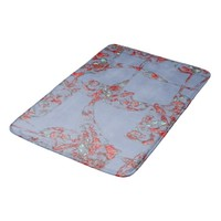 Red Blue Stylish Ornament On Blue Gray Bath Mat
