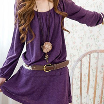 Purple Long Sleeves Belted Skater Dress