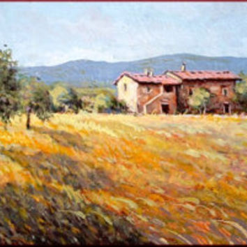 Tuscan farmhouse Italian country original oil on canvas of Gino Masini painter Italy Italia - Dipinto campagna Toscana con casolare