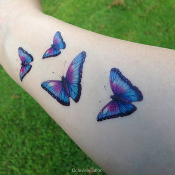 Mothers Day - Purple Butterfly Temporary Tattoo - Butterfly Tattoo - Temporary Tattoo