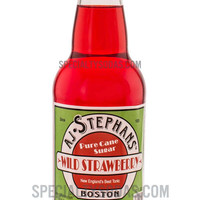 AJ Stephans Wild Strawberry Soda 12oz Glass Bottle