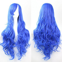 Womens/Ladies 80cm Blue Color Long CURLY Cosplay/Costume/Anime/Party/Bangs Full Sexy Wig (80cm,Curly Blue)