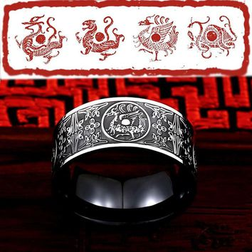 Beier 316L Stainless Steel Nordic Vikings Unique Animal Northern Europe Amulet scandinavian Dragon and tiger ring  jewelry LR386