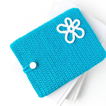 White Flower Kindle Voyage ereader case, Kindle Oasis cover, blue Sony reader sock, Tolino cover, Nook Glowlight plus pouch, Kobo Touch cozy
