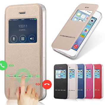 Luxury Front View Window Flip Leather Case for iPhone 5 5S SE 5SE Metal Sliding Answer Call With TPU Silicone Phone Back Cover