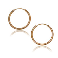 Rose Gold Plated 18k Plain Thin Small Hoop Endless Earrings 22mm Traditional