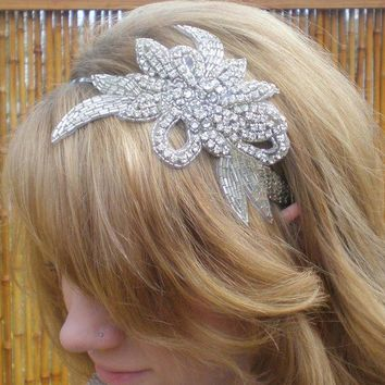 Swarovski Rhinestone and Silver Beaded Flower by DanaCastle