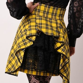 SteamPunk Bustle Yellow Black Plaid Mini Skirt
