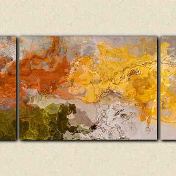 "Abstract expressionism triptych canvas print, 30x60 to 40x78 sofa sized giclee in orange and yellow, ""Come the Fall"""