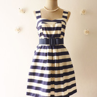 Summer Dress Stripe Dress Summer Mini Dress Navy Dress Retro Chic Dress Beach Party Stunning Dress Navy/White Cream - Size S-M