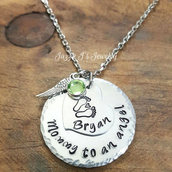 Mommy Of An Angel Necklace, Remembrance Necklace, Memorial Necklace, Infant Loss Necklace, Hand Stamped Memory Necklace