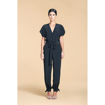 RIZO WRAP EFFECT SILK JUMPSUIT