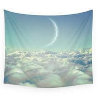Society6 Dream Above The Clouds (Crescent Moon) Wall Tapestry